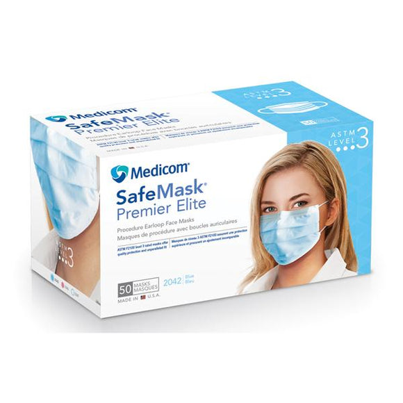Face Mask Earloop Safe+Mask Premier Elite ASTM Level 3 Blue 50/Bx, 10 BX/CA