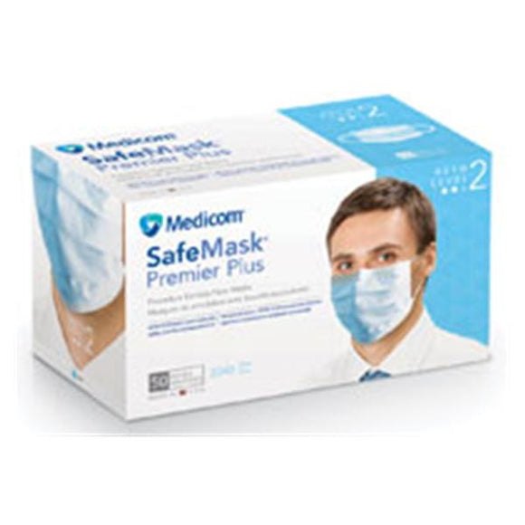 Face Mask Earloop Safe+Mask Premier Plus ASTM Level 2 Blue 50/Bx, 10 BX/CA