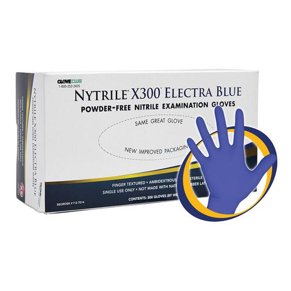 Gloves Exam Nytrile X300 PF Nitrile LF XS Electra Blue 300/Bx