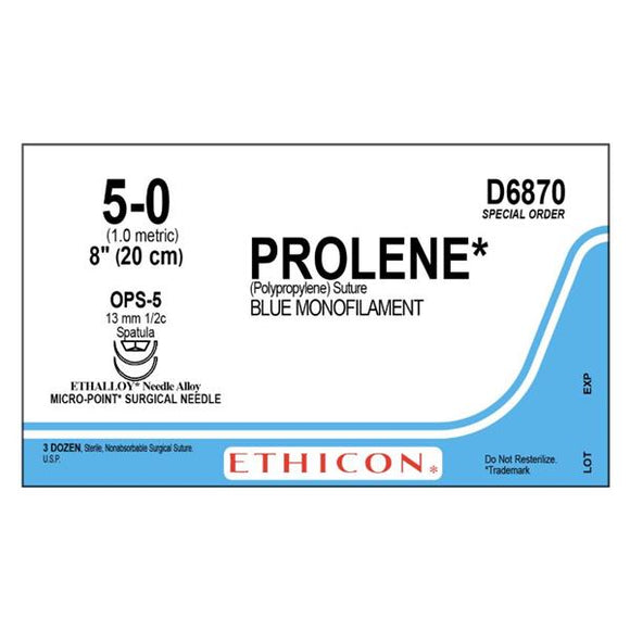 Suture 5-0 PP OPS-5/OPS-5 Prolene Blue 1x8