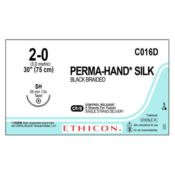 Suture 2-0 Silk SH Perma-Hand Black 30