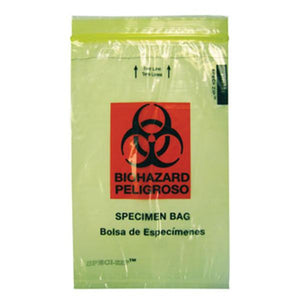 Speci-Zip Biohazard Bag Yellow Zip Closure W/ Bio Lg 1000/Ca