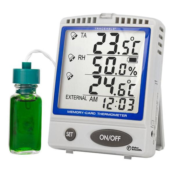 Thermometer Thrmtr/Hmdty Traceable -30 to +70°C LCD Btl Prb Ea