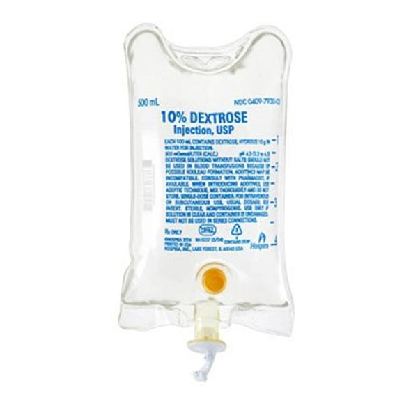 Dextrose 10% IV Injection Solution 500mL Strl Flx Bg Cntnr 24/Ca
