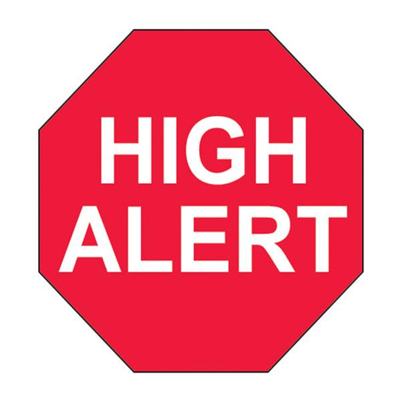Lab Labels Red/ White High Alert / 3/4