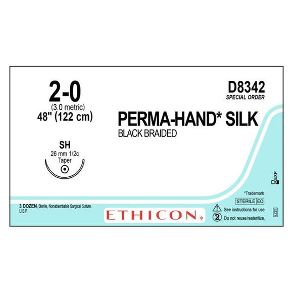 Suture 2-0 Silk SH Perma-Hand Black 48