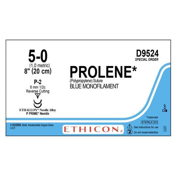 Suture 5-0 Polypropylene P-2 Prolene Blue 8