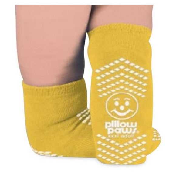 Socks Slipper Pillow Paws Adult Yellow 2X Large 48Pr/Ca