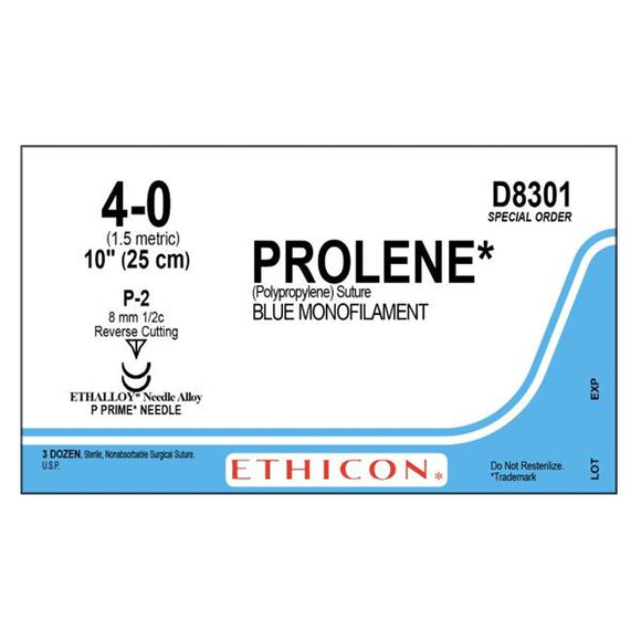 Suture 4-0 PP P-2/P-2 Prolene Blue 1x10