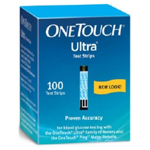 OneTouch Ultra Blood Glucose Test Strip 100 Count 100/Bx, 24 BX/CA