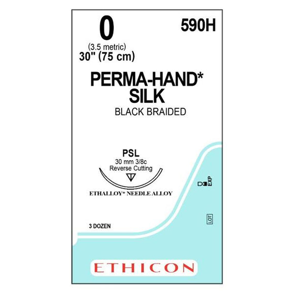 Suture 0 Silk PSL Perma-Hand Black/Brown 1x30