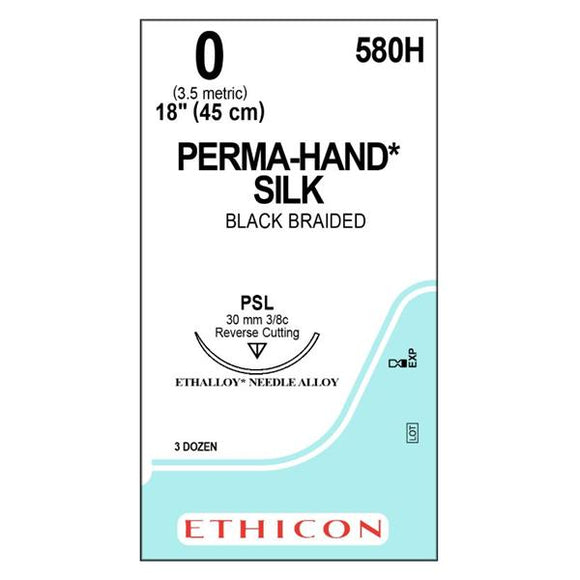 Suture 0 Silk PSL Perma-Hand Black 18