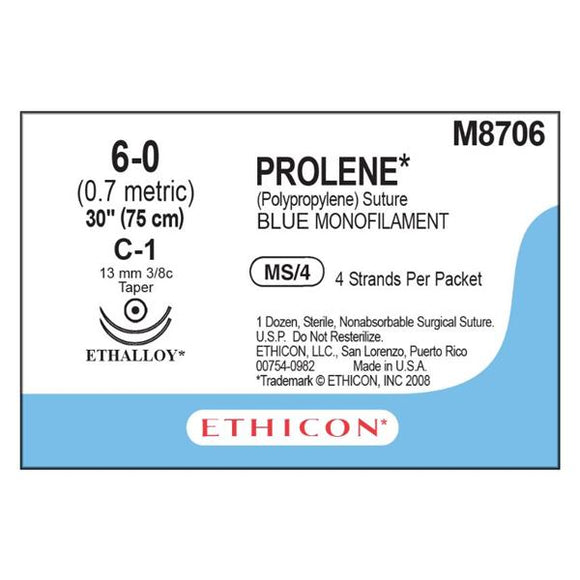 Suture 6-0 PP C-1/C-1 Prolene Blue 4-30
