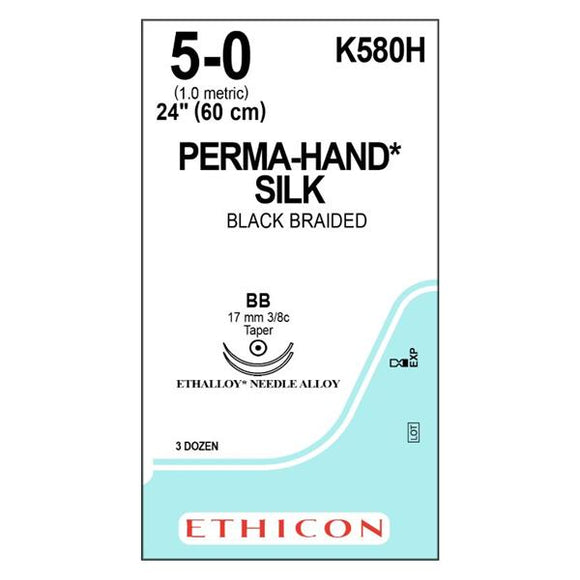 Suture 5-0 Silk BB/BB Perma-Hand Black 24