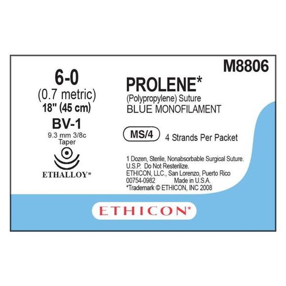 Suture 6-0 PP BV-1/BV-1 Prolene Blue 4x18