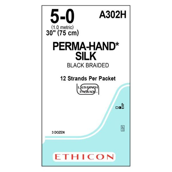 Suture 5-0 Silk No Needle Perma-Hand Black 18