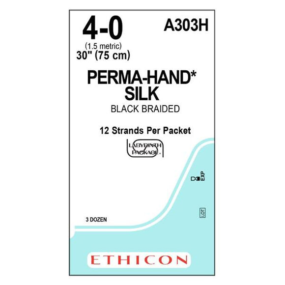 Suture 4-0 Silk No Needle Perma-Hand Black 12-30