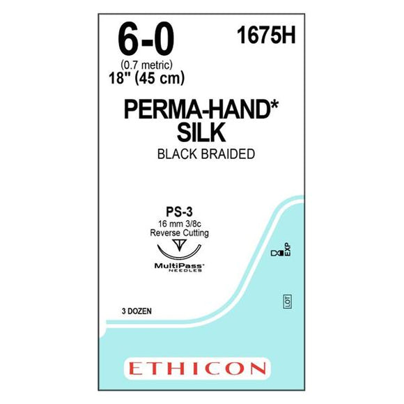 Suture 6-0 Silk PS-3 Perma-Hand Black 18