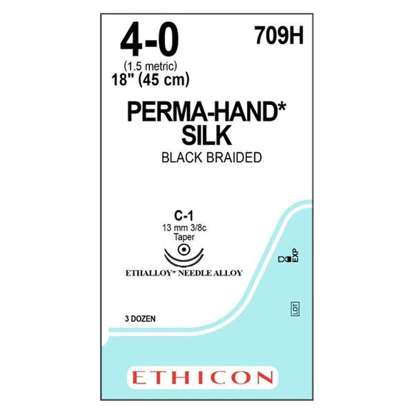 Suture 4-0 Silk C-1 Perma-Hand Black 18