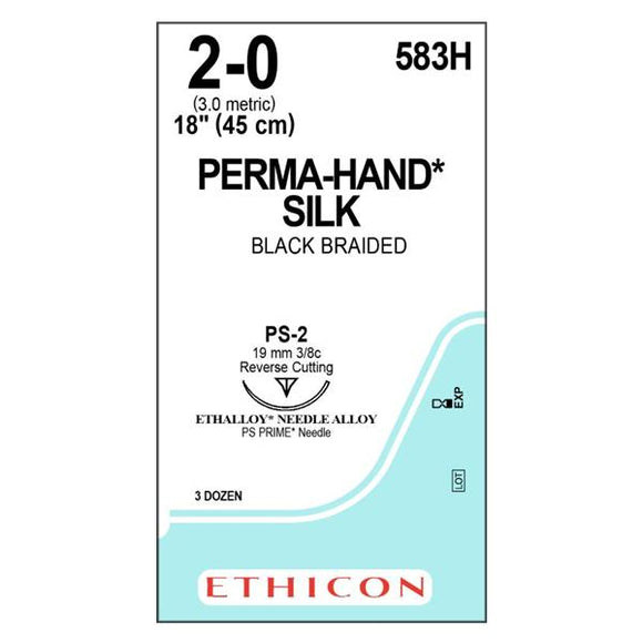 Suture 2-0 Silk PS-2 Perma-Hand Black 18