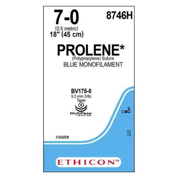 Suture 7-0 PP BV175-6/BV175-6 Prolene Blue 18