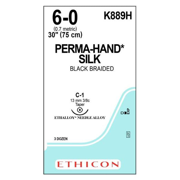Suture 6-0 Silk C-1 Perma-Hand Black 30
