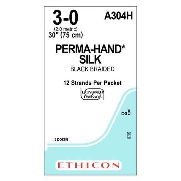 Suture 3-0 Silk No Needle Perma-Hand Black 12-30