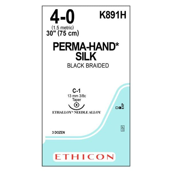 Suture 4-0 Silk C-1 Perma-Hand Black 30