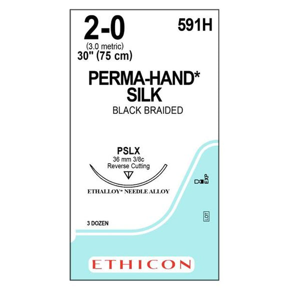 Suture 2-0 Silk PSLX Perma-Hand Black 1x30