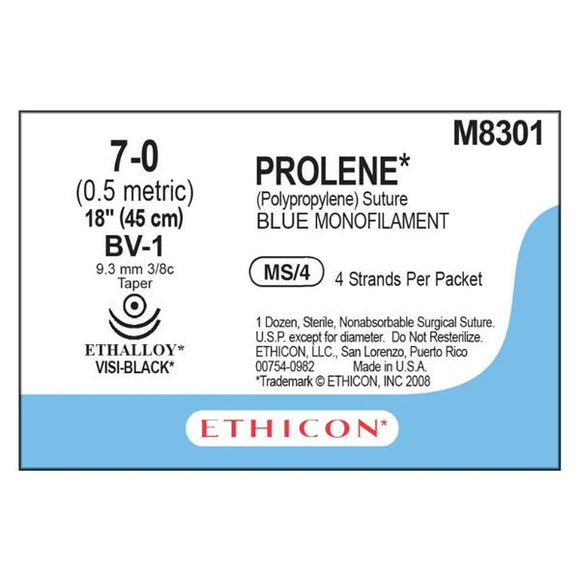 Suture 7-0 PP BV-1/BV-1 Prolene Blue 4-18