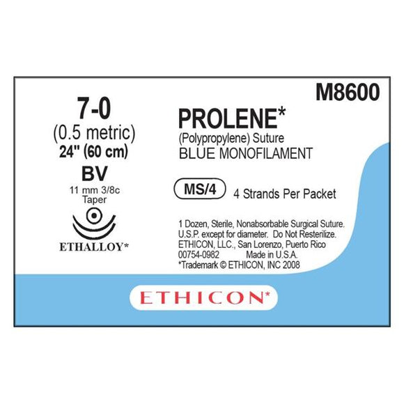 Suture 7-0 PP BV/BV Prolene Blue 4-24