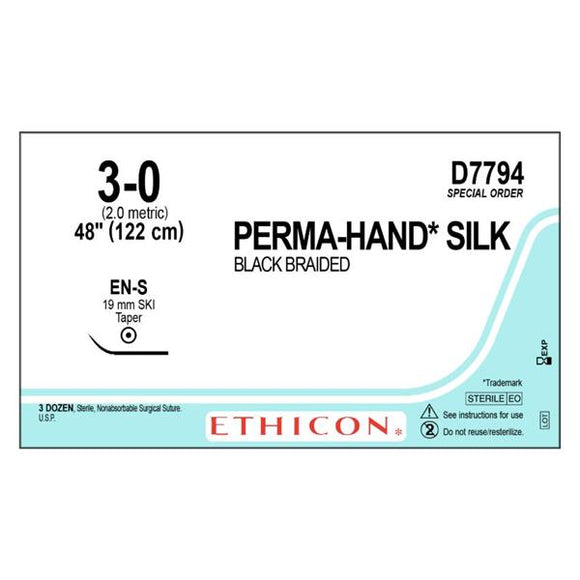 Suture 3-0 Silk EN-S Perma-Hand Black 1x48