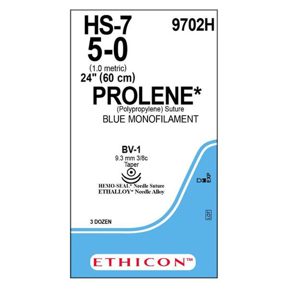 Suture 5-0 Polypropylene BV-1 Prolene Blue 24