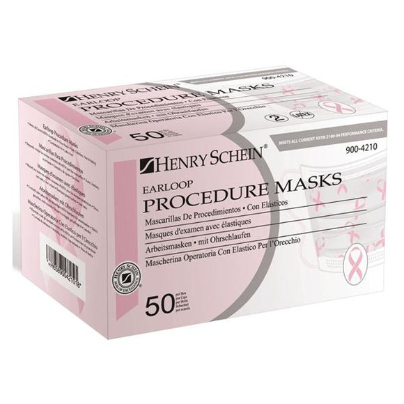 Face Mask Earloop HSI ASTM Level 1 Pink Ribbon 50/Bx, 6 BX/CA