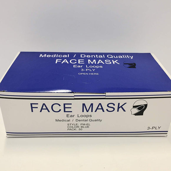 Earloop Face Mask 3 Ply Blue Disposable Latex Free 50/Box