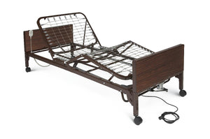 "Hospital Bed MedLite 80x36x22-1/2"" Steel Woodgrain Panels Lightweight 450lb Capacity Semi-Electric With 2 Lock Caster"