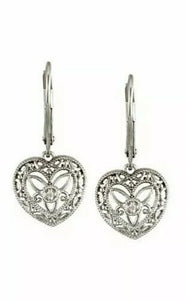 Vintage Inspired Filigree Heart Diamond  Earrings Leverback Gold Available