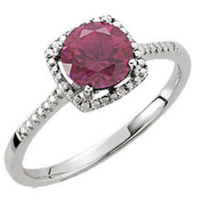 Ruby Diamond Halo Ring 7 Sizeable