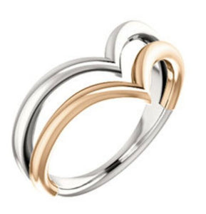 White Gold And Rose Gold V Ring Two Tone NEW gold Ring Made In The USA Quality