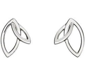 Double Leaf Earrings in White Gold