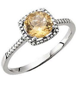 Citrine Diamond Halo Ring 7 Sizeable