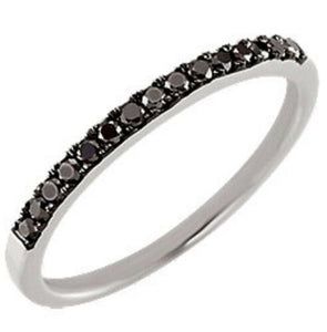 Black Diamond Band White Gold Black Diamond Ring 14K Anniversary Band Wedding