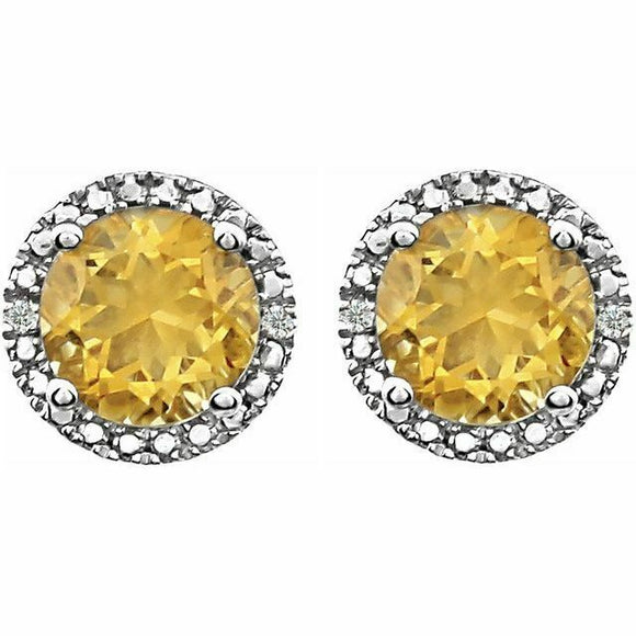 Genuine Citrine Diamond Halo Round Stud Earrings Sterling Silver NEW