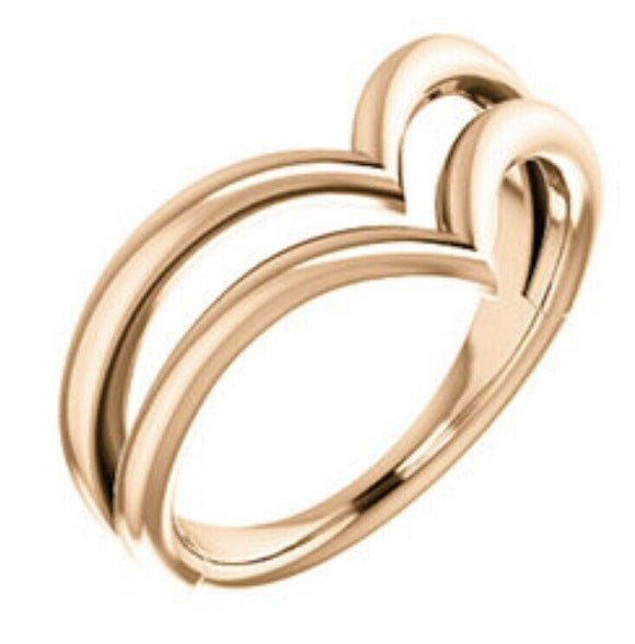 Rose Gold Double V Ring Two Tone NEW gold Ring Made In The USA Quality 14 Karat