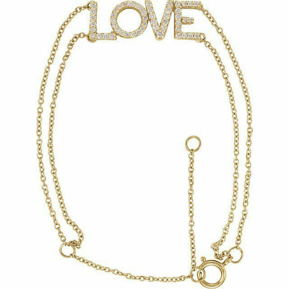 Diamond LOVE Chain Bracelet Yellow Gold