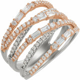1 Carat Diamond White and Rose Gold Crisscross Negative Space Ring Sizeable New