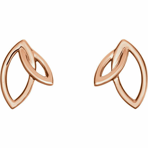 Double Leaf Earrings in Rose Gold