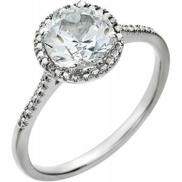 White Sapphire Diamond Halo Ring Sterling Silver NEW Solid Size 7 Sizeable