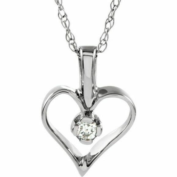 Diamond Heart Pendant Necklace White Gold NEW Solid USA Made 18