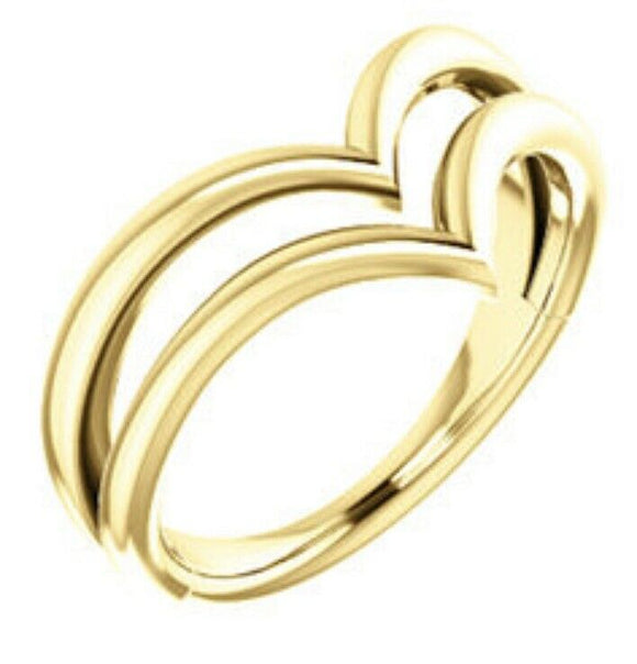 Yellow Gold Double V Ring NEW gold Ring Made In The USA Quality 14 Karat Gold